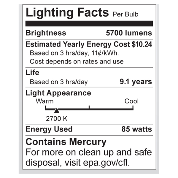 S7397 Lighting Fact Label