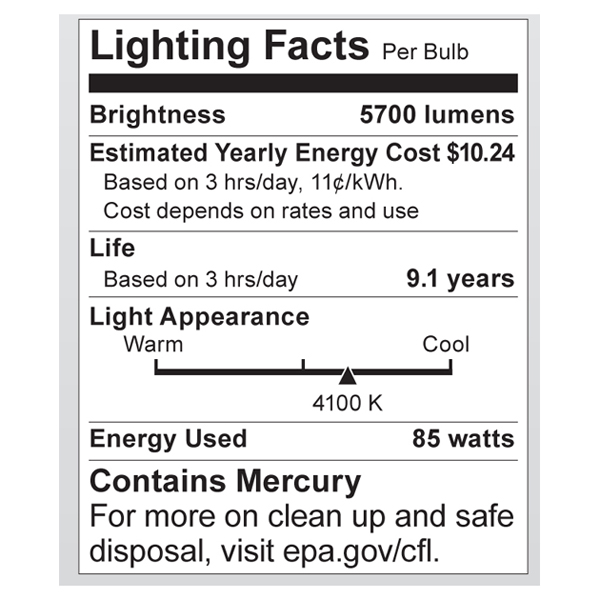 S7398 Lighting Fact Label