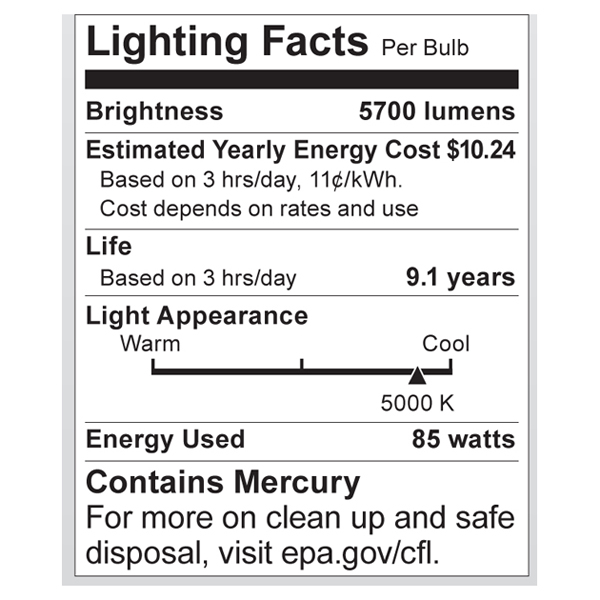 S7399 Lighting Fact Label