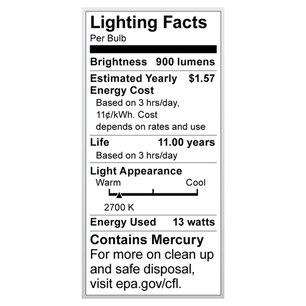 S7411 Lighting Fact Label