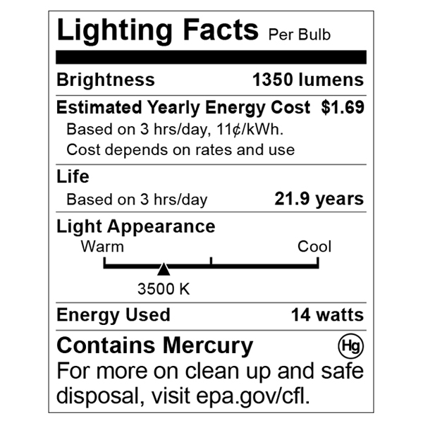 S8126 Lighting Fact Label