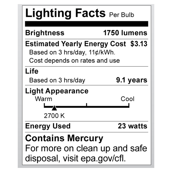 S8207 Lighting Fact Label