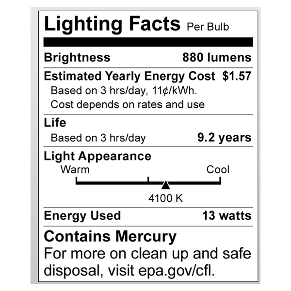 S8208 Lighting Fact Label