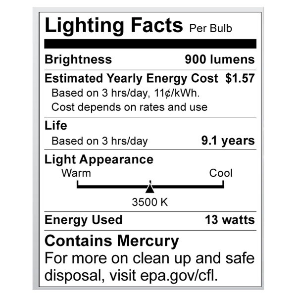 S8226 Lighting Fact Label