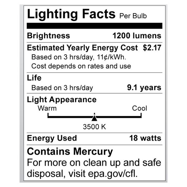 S8229 Lighting Fact Label