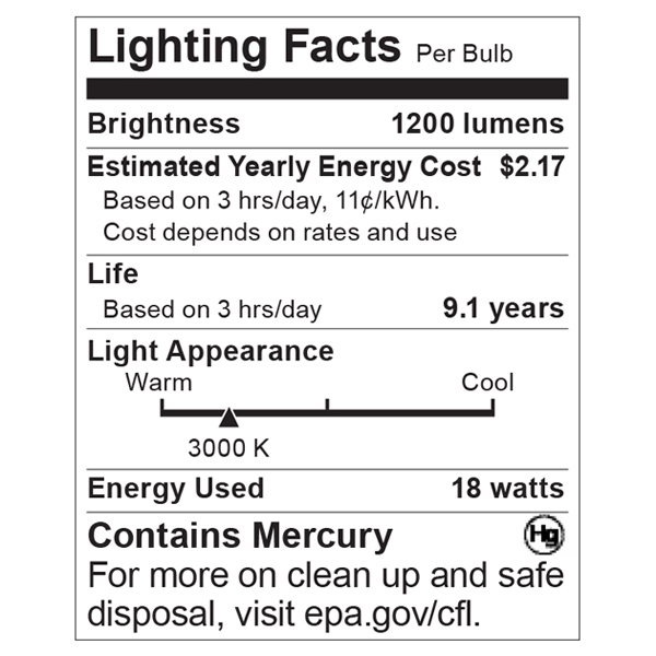 S8342 Lighting Fact Label