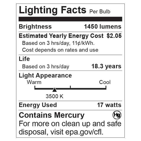 S8405 Lighting Fact Label