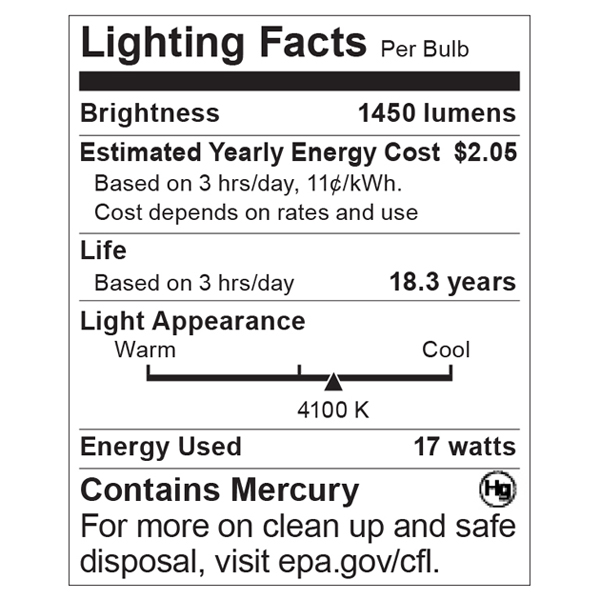 S8406 Lighting Fact Label