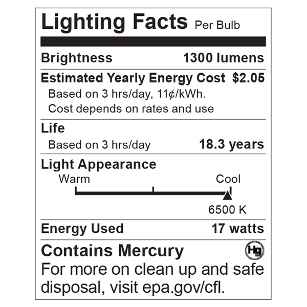 S8433 Lighting Fact Label