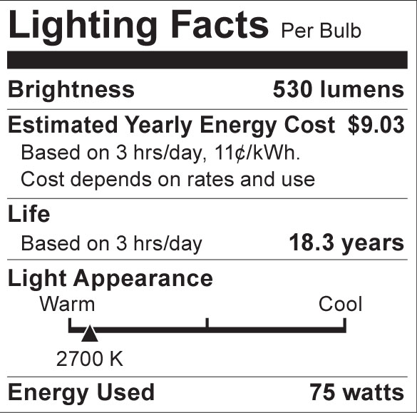 S8514 Lighting Fact Label