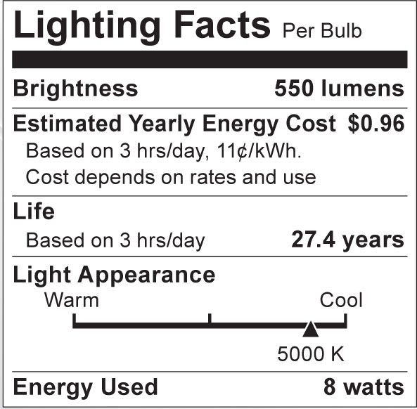 S8798 Lighting Fact Label