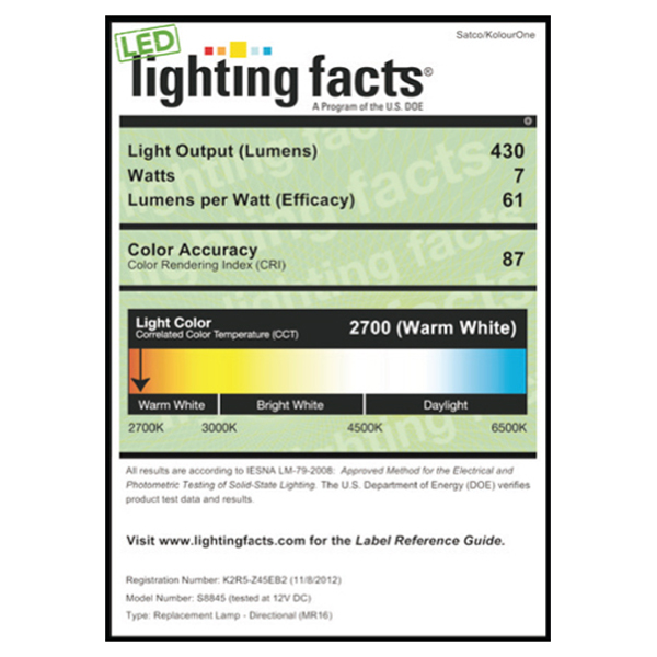 S8845 Lighting Fact Label