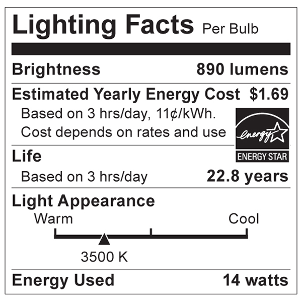 S8848 Lighting Fact Label