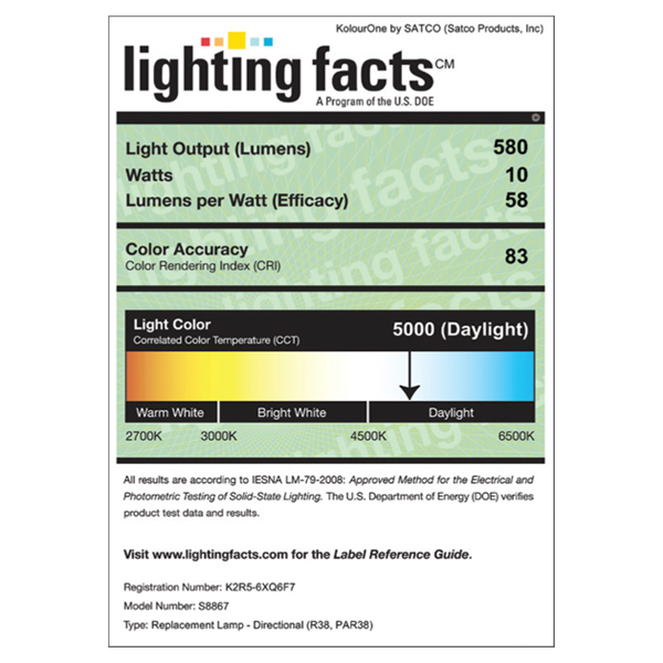 S8867 Lighting Fact Label