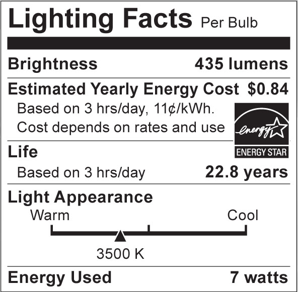 S8922 Lighting Fact Label