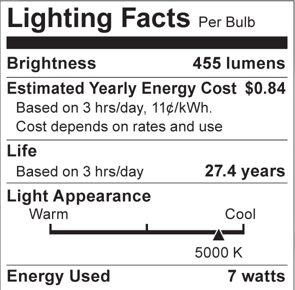 S8923 Lighting Fact Label