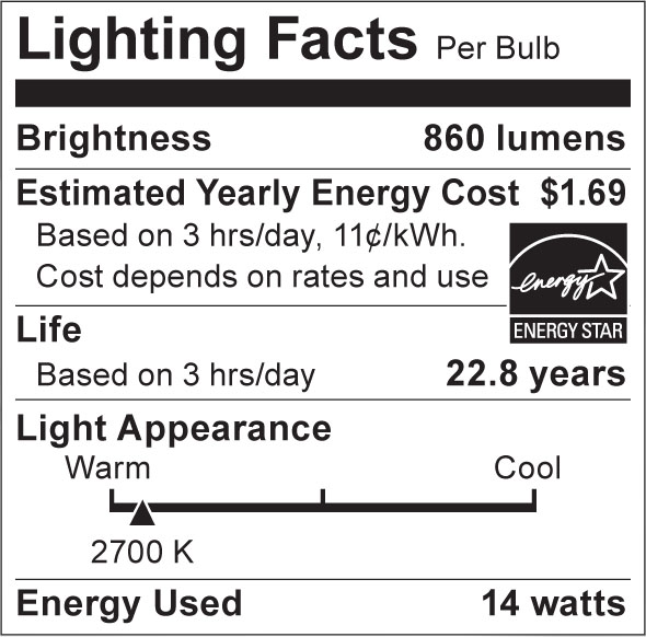 S8934 Lighting Fact Label