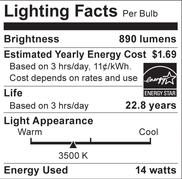 S8935 Lighting Fact Label