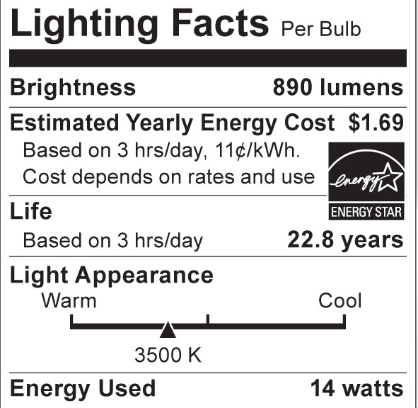 S8942 Lighting Fact Label