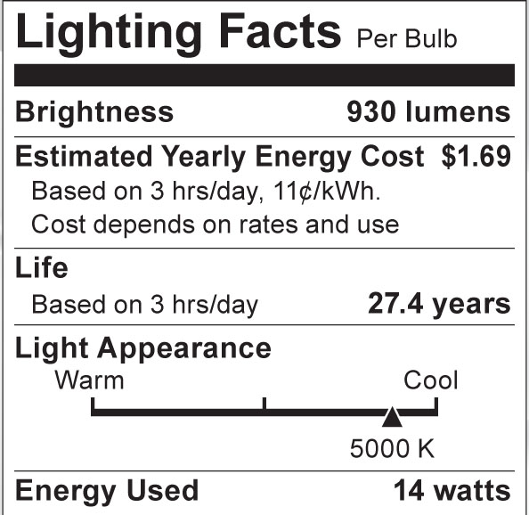 S8943 Lighting Fact Label