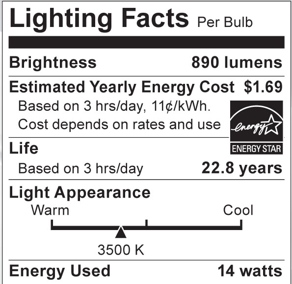 S8948 Lighting Fact Label