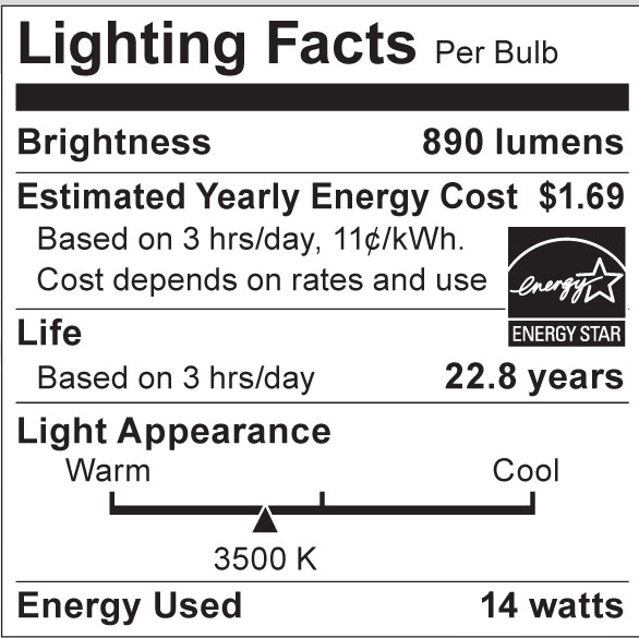 S8972 Lighting Fact Label