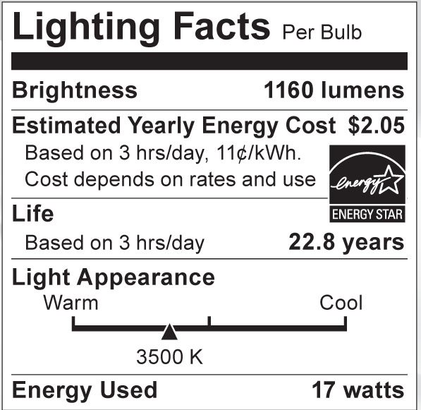 S8978 Lighting Fact Label