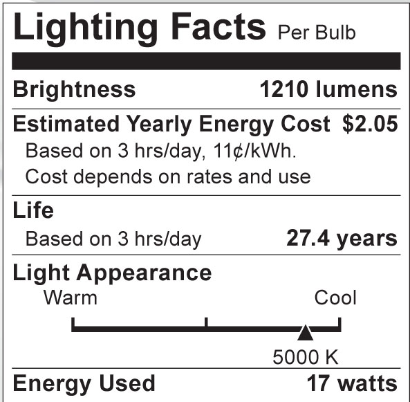 S8979 Lighting Fact Label