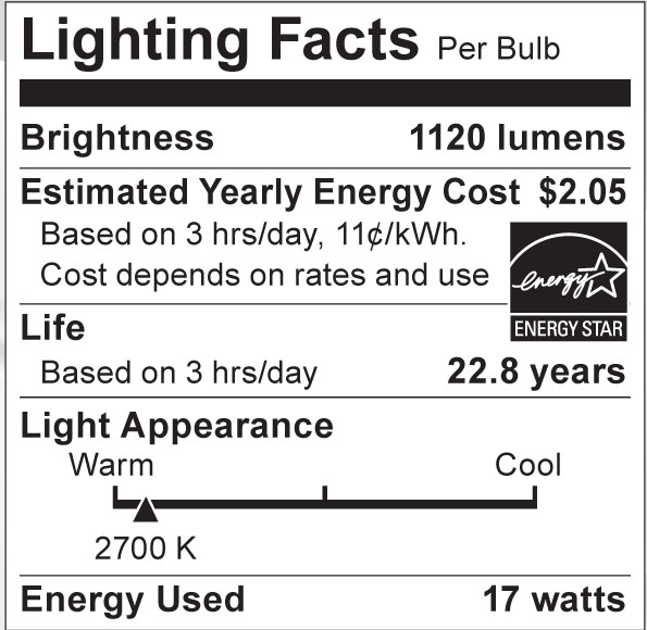 S8984 Lighting Fact Label