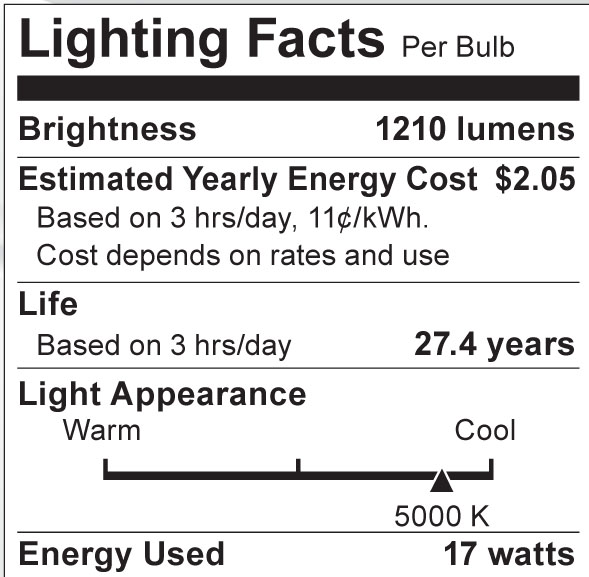 S8986 Lighting Fact Label