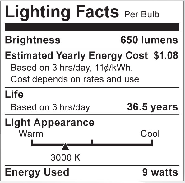 S8991 Lighting Fact Label