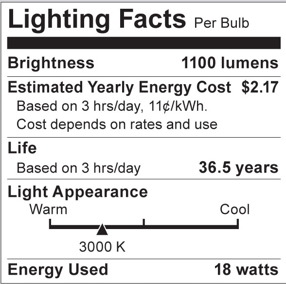 S8992 Lighting Fact Label
