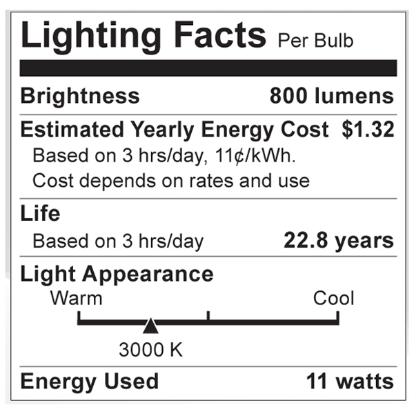 S8994 Lighting Fact Label