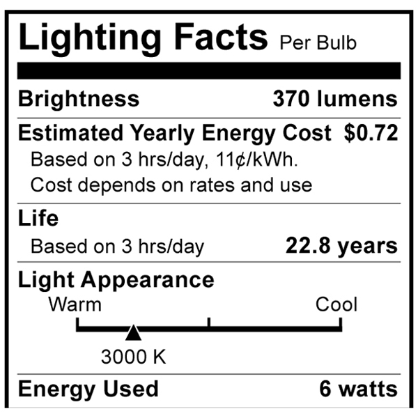S8998 Lighting Fact Label