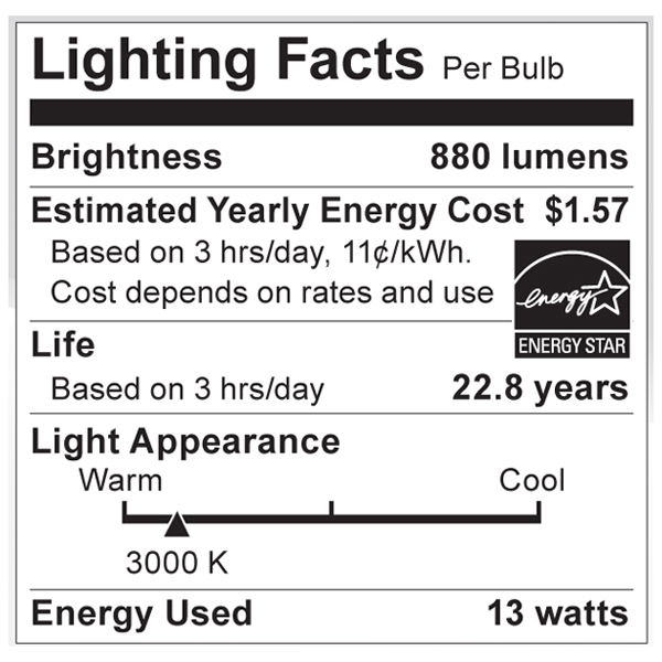 S9003 Lighting Fact Label