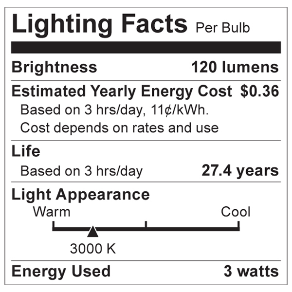 S9004 Lighting Fact Label