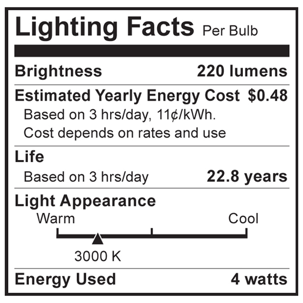 S9008 Lighting Fact Label