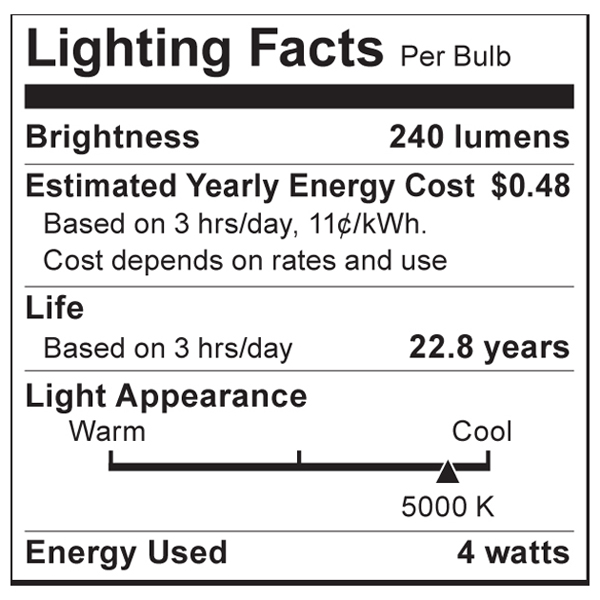 S9009 Lighting Fact Label