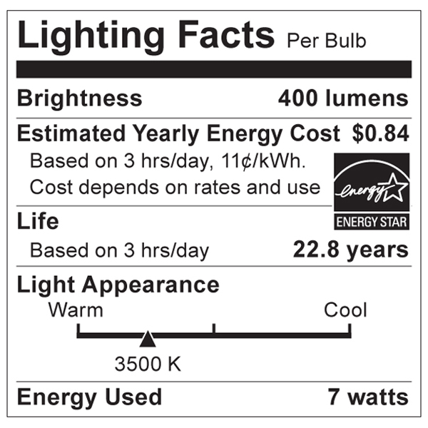 S9014 Lighting Fact Label