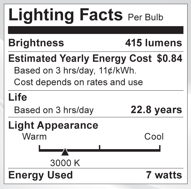S9082 Lighting Fact Label