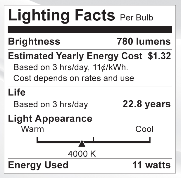 S9085 Lighting Fact Label