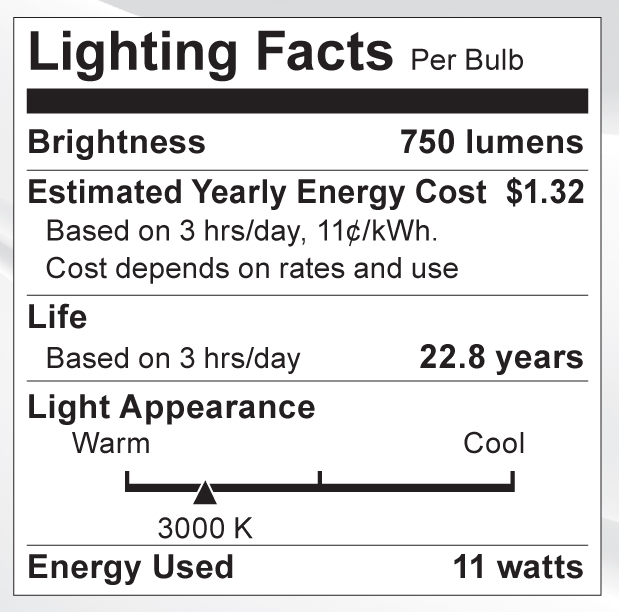 S9086 Lighting Fact Label