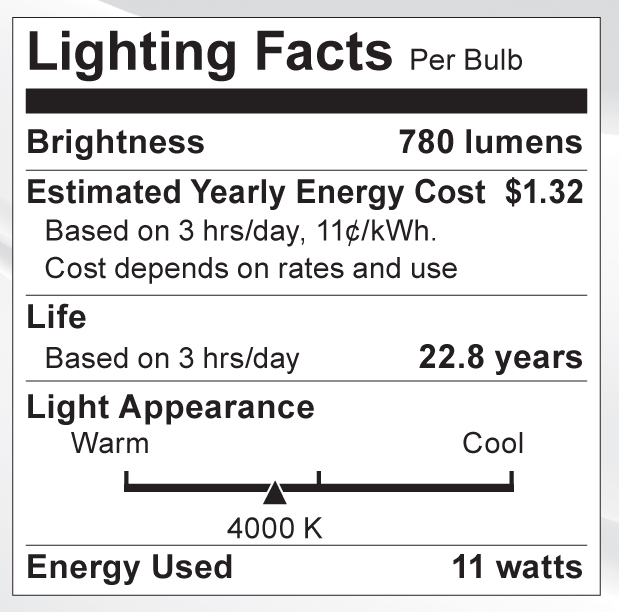 S9087 Lighting Fact Label