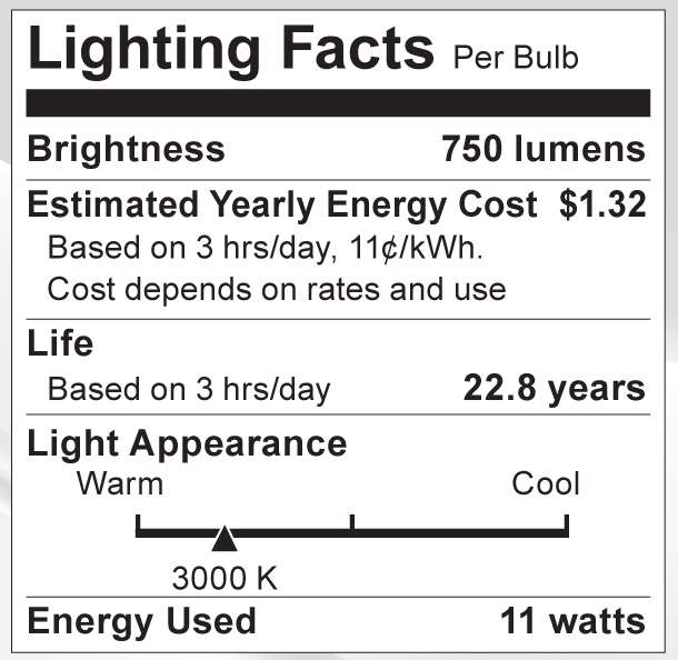 S9088 Lighting Fact Label