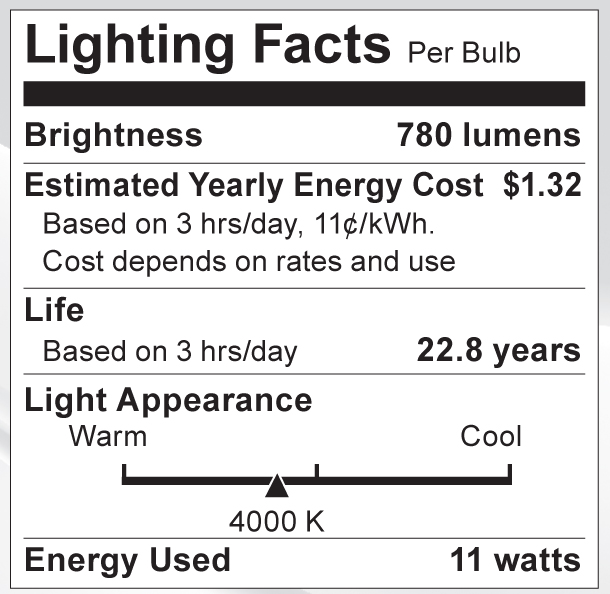 S9089 Lighting Fact Label