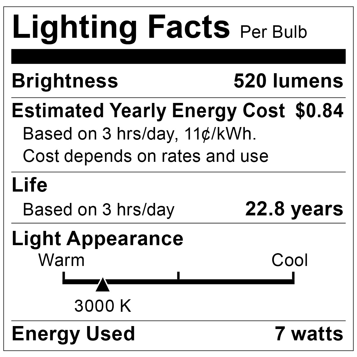 S9104 Lighting Fact Label