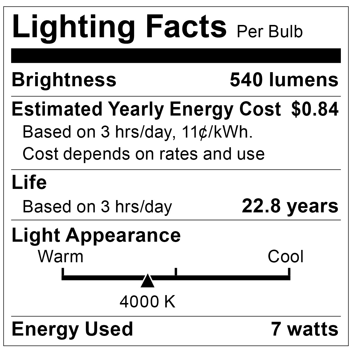 S9105 Lighting Fact Label
