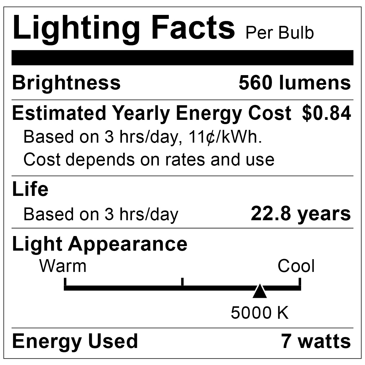 S9106 Lighting Fact Label